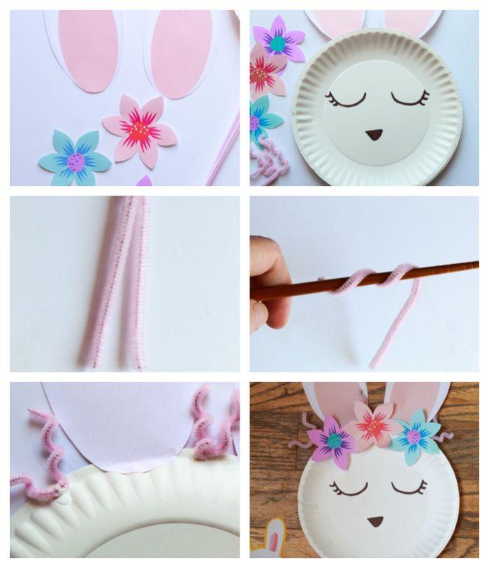 exemple de lapin de paques à fabriquer soi même avec assiette de papier blache bricolage activité manuelle paques facile