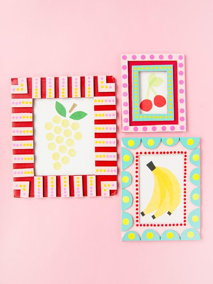 exemple d activité manuelle primaire, cadre photo en carton et papier colorée, fabriquer un cadre pour image colorée pour la fete des meres