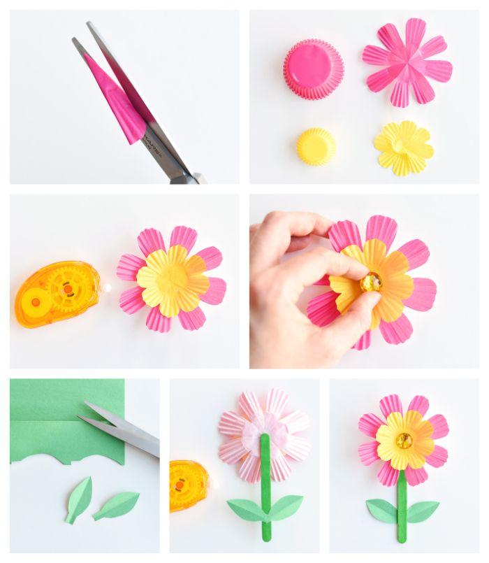 comment fabriquer une fleur en papier simple, bricolage avec filtre à café en maternelle avec batonnet de glace et strass au centre