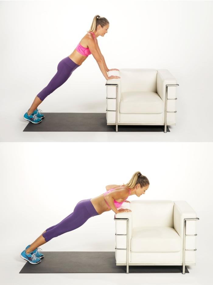 quel sport pour maigrir chez soi, exercices à faire à la maison sans matériel, exemple des push-ups en version inclinés