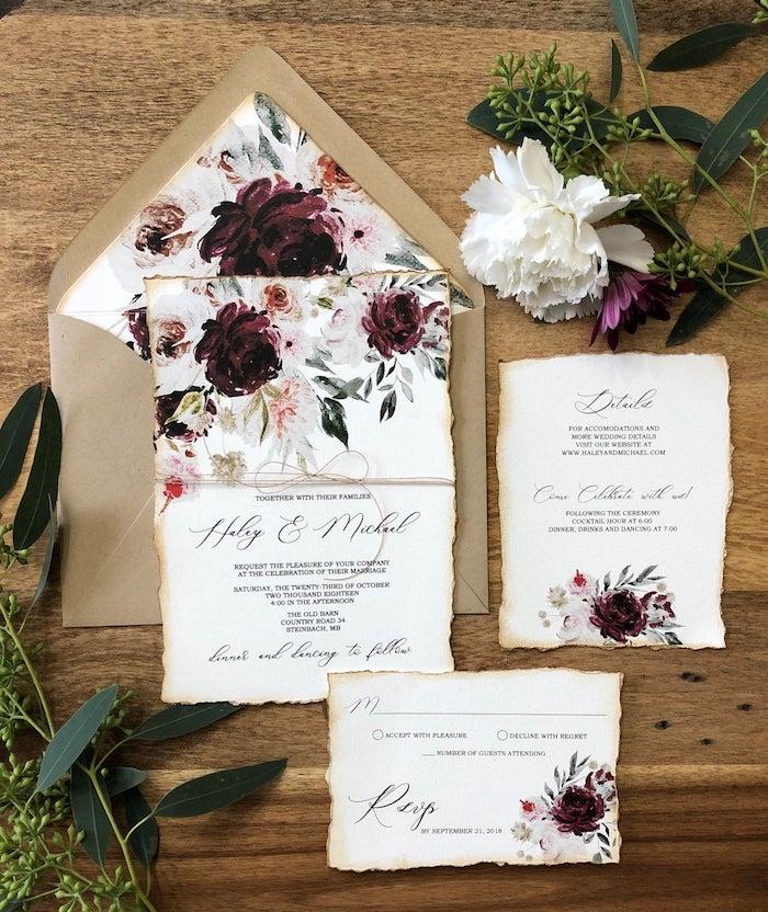 Faire part fleurie au style vintage avec fleurs aquarelles, idée deco champetre, inspiration mariage champêtre chic fleurie