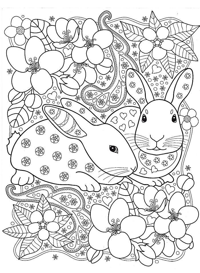 dessin de paques a imprimer pour grands et petits, art-thérapie dessin mandala sur le thème de Pâques avec fleurs et lapins