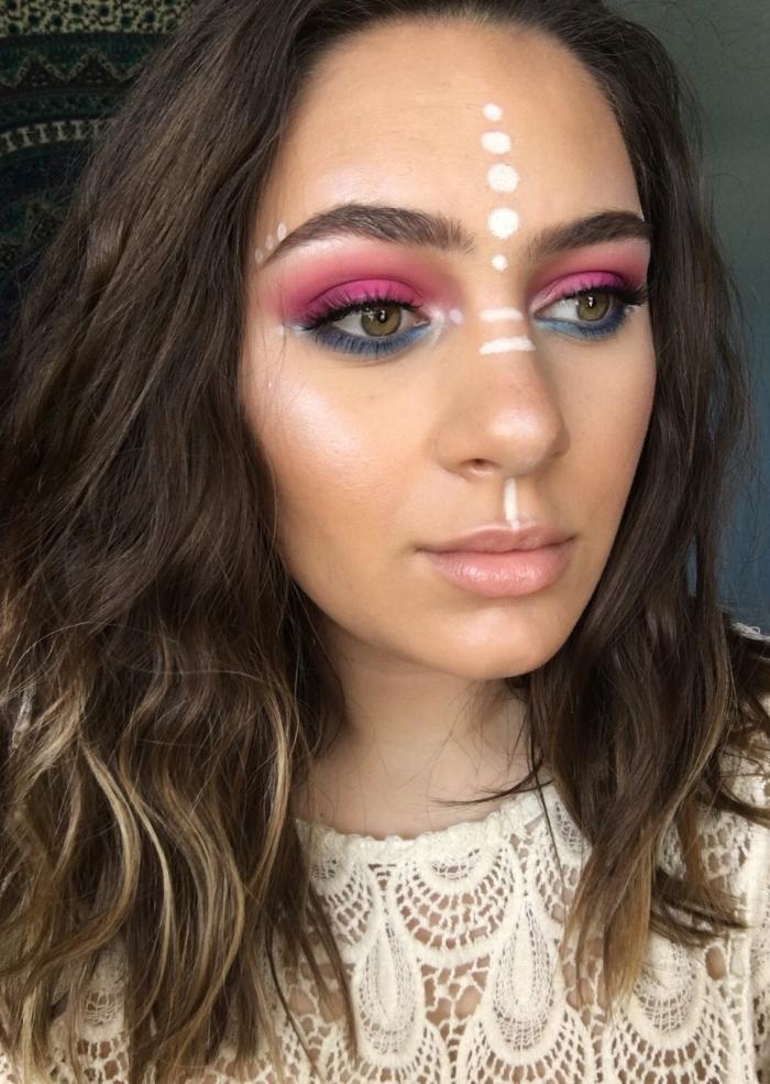 exemple de maquillage hippie facile à faire avec ombres à paupières fluo, idée de make-up original avec dessins sur le visage