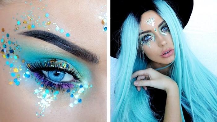 coachella makeup facile à reproduire avec fards à paupière et strass visage de nuance turquoise, idée maquillage de carnaval