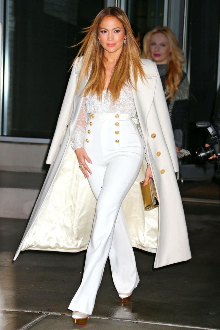Manteau long blanche chemise dentelle, tailleur pantalon femme pour ceremonie ou tenue de ville pantalon taille haute