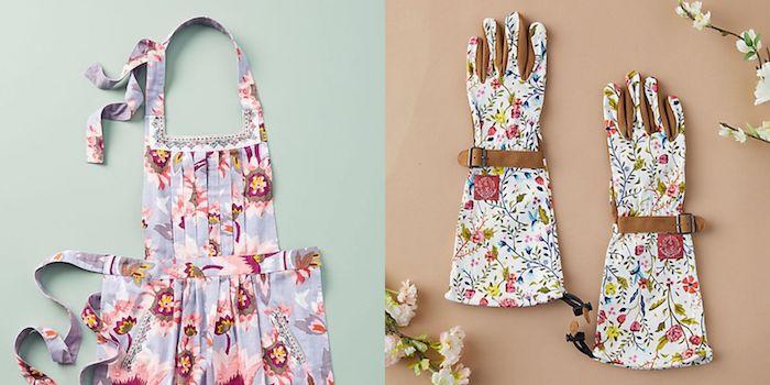 Tablier fleurie ou gants à fleurs pour les travaux de jardin, activité manuelle paques, bricolage de paques pour adultes