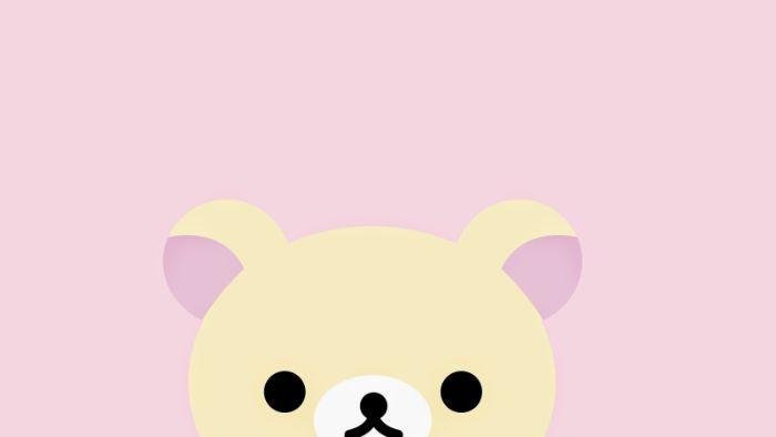 fond d écran cute avec petit ourson sur fond rose, idee d image mignonne en tons pastel
