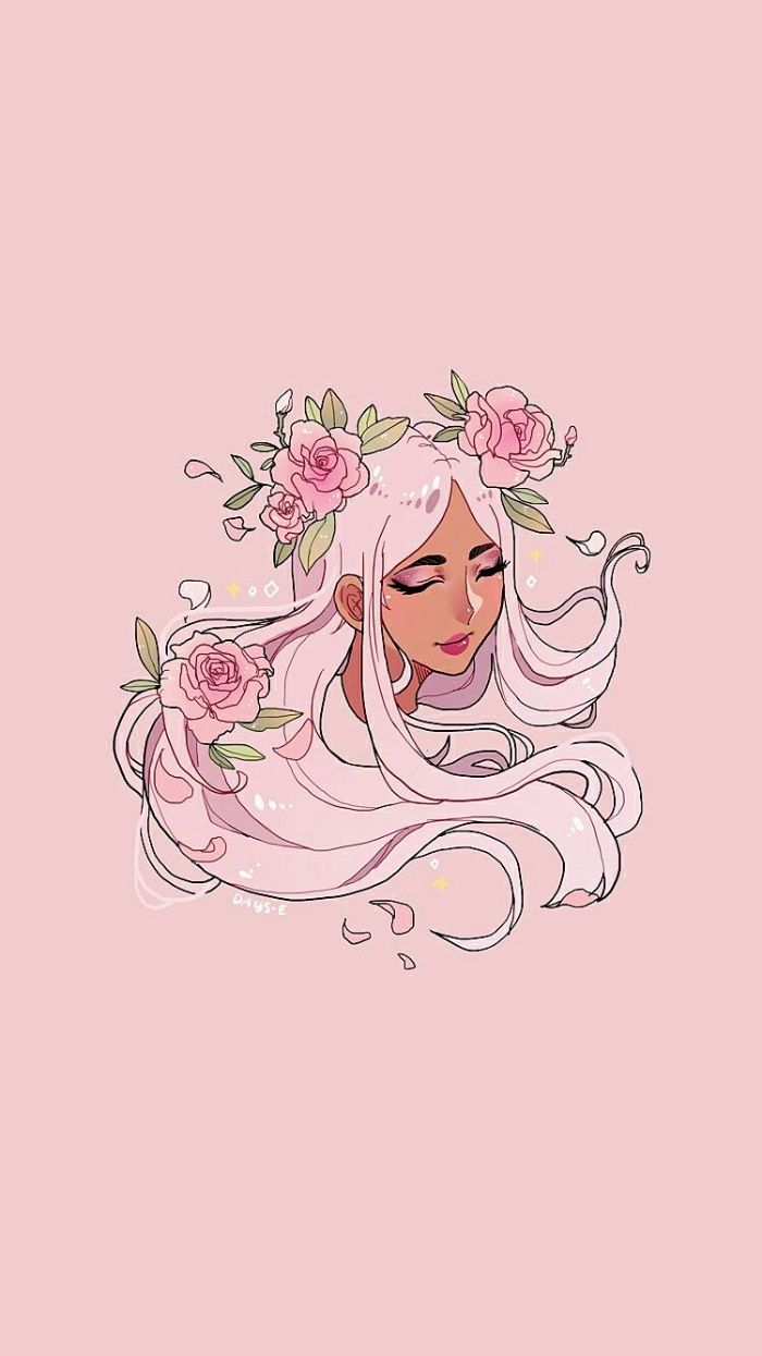 modele fond d écran fille aux cheveux longs rose avec des fleurs roses dans les cheveux, idee dessin nymphe