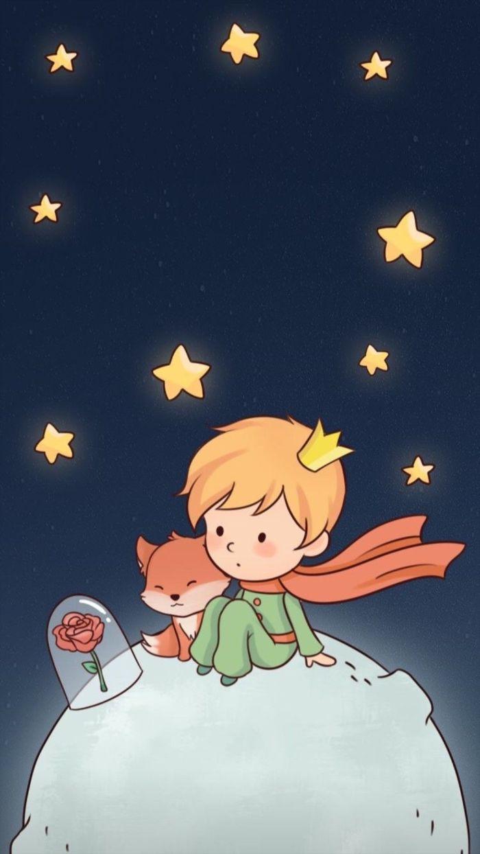 idee de dessin le petit prince sur la une planete avec le renard et la rose, fond ecran enfant original
