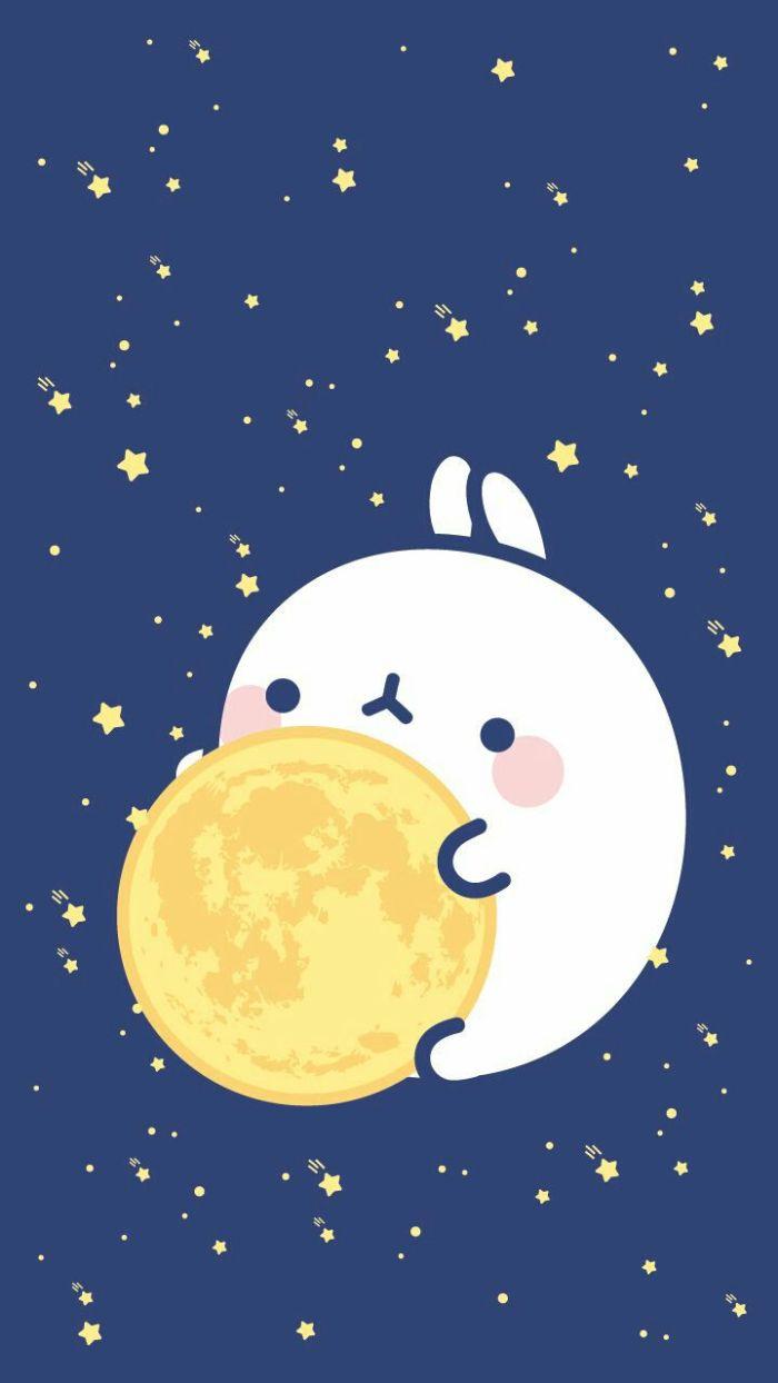 idee paysage nocture de nuit avec petit personnage kawaii avec la lune entre ses mains sur fond bleu étoilé