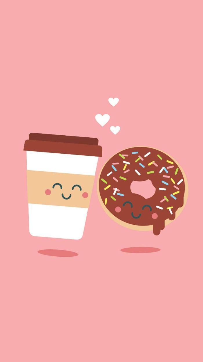 fond écran nourriture kawaii avec gobelet de café et donut couvert de chocolat sur fond rose, image kawaii amour