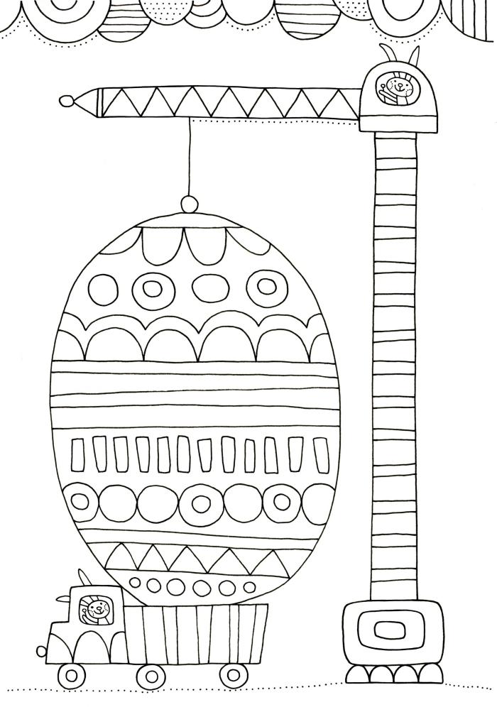 idée de coloriage facile pour enfant sur le thème de Pâques, illustration amusante avec voiture et deux lapins