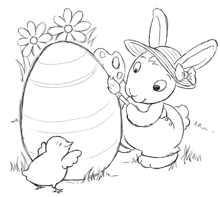 exemple de coloriage oeuf de paques facile à colorier pour enfant, illustration ludique à imprimer avec lapin et poulet