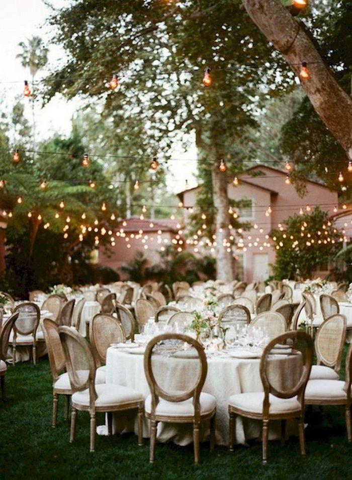 Guirlande lumineuse mariage champêtre chic, decoration mariage champetre élégant belle décoration reception exterieur