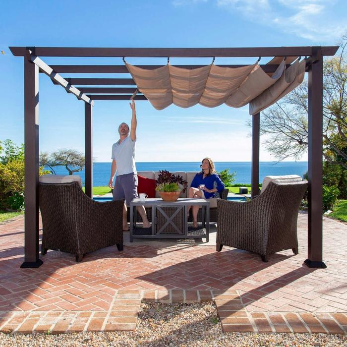 Vue de la mer, mobilier jardin pour la terrasse amenagement jardin photos, idees terrasses exterieures,