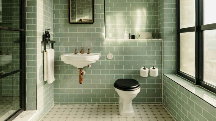 Rétro salle de bain vert de gris carrelage sol blanc et noir, quelle couleur pour une salle de bain, couleur salle de bain