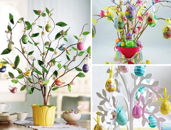 bricolage de paques pour adultes avec oeufs décorés et figurines d'oiseaux, modèle de faux arbre blanc décoré d'oeufs pastel
