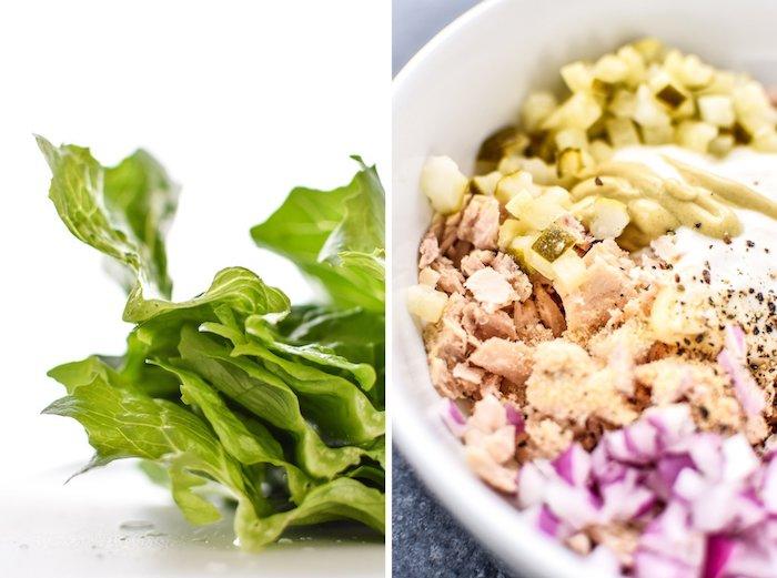 exemple de salade au thon, mayonnaise, concombre suris, oignons, poivre et sel, repas équilibré pour midi