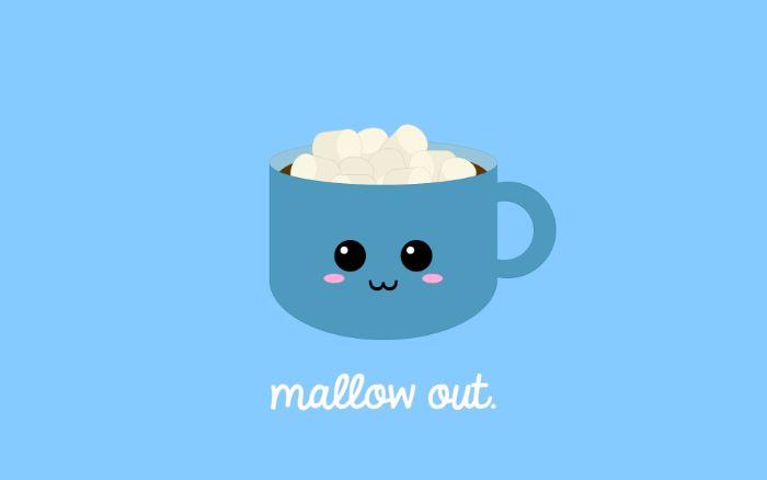 dessin kawaii tasse de chocolad chaud aux marsjmallow sur fond bleu, personnage kawaii mignonne