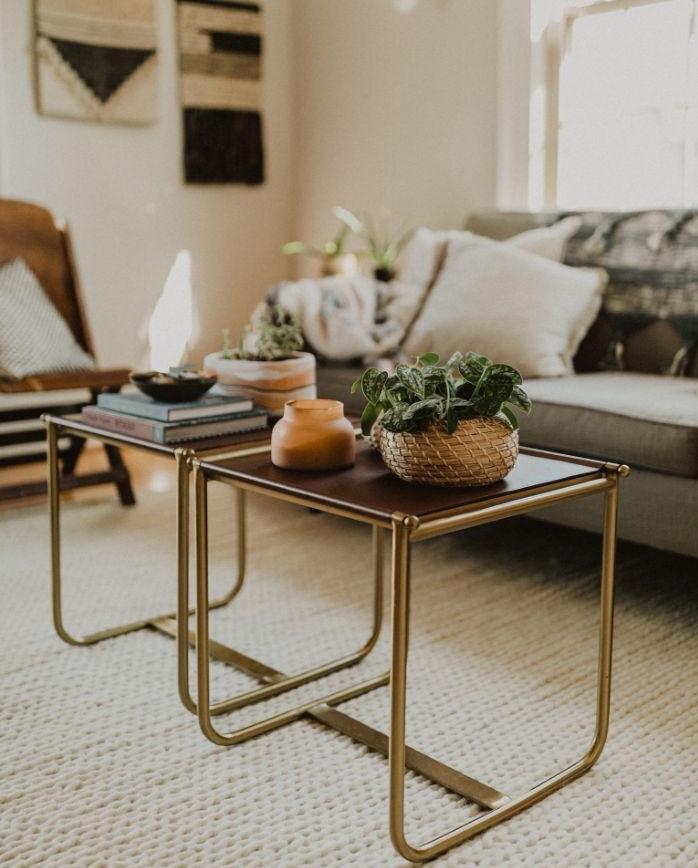 idee de table basse desing avec tableau marron et des pieds en laiton dans salon gris et blanc