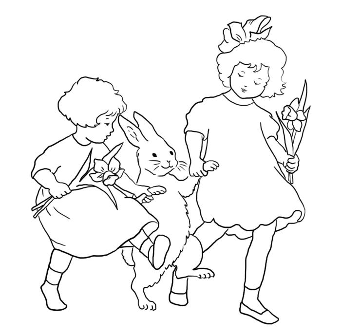 coloriage paques facile pour petits, dessin à colorier sur le thème Pâque avec deux filles et un lapin