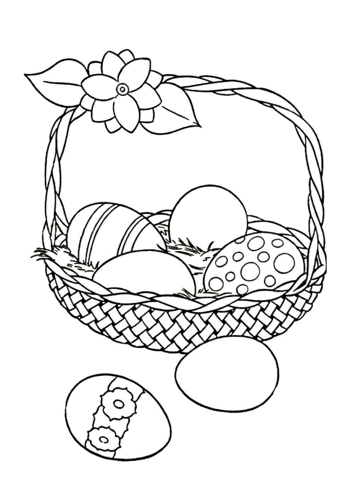 dessin de paques a imprimer, illustration Pâques avec panier d'oeufs décorés, idée coloriage simple pour enfant