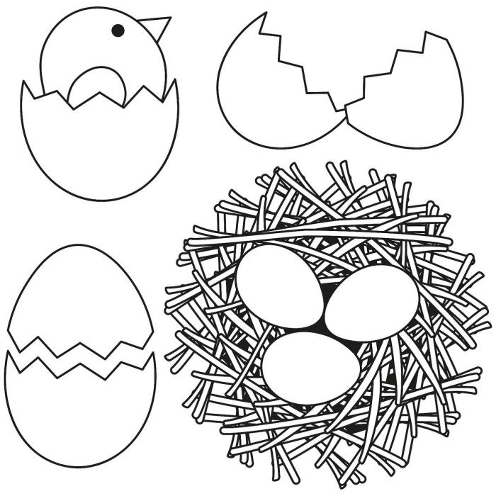 dessin de paques a imprimer, modèle de coloriage facile pour enfant sur le thème de Pâques avec oeufs et poulet