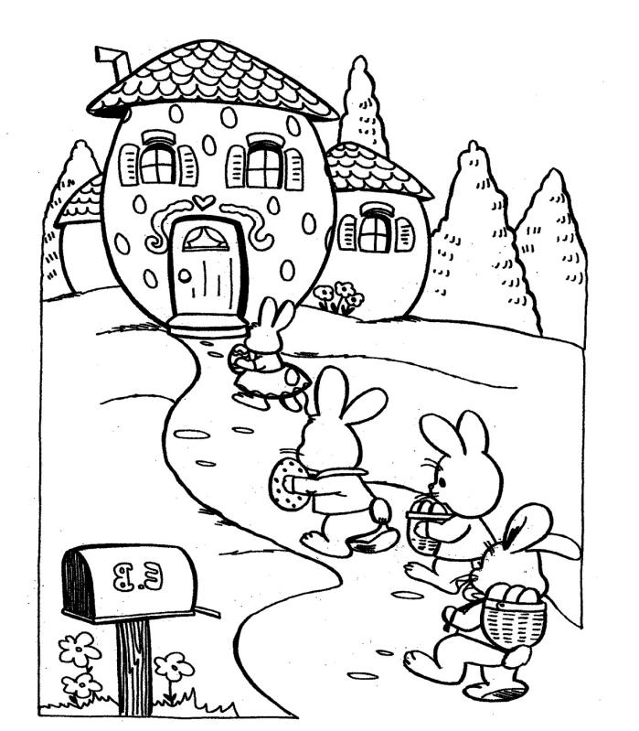 dessin de paques facile à colorier pour enfant, illustration de Pâques ludique avec petits lapins et maisons