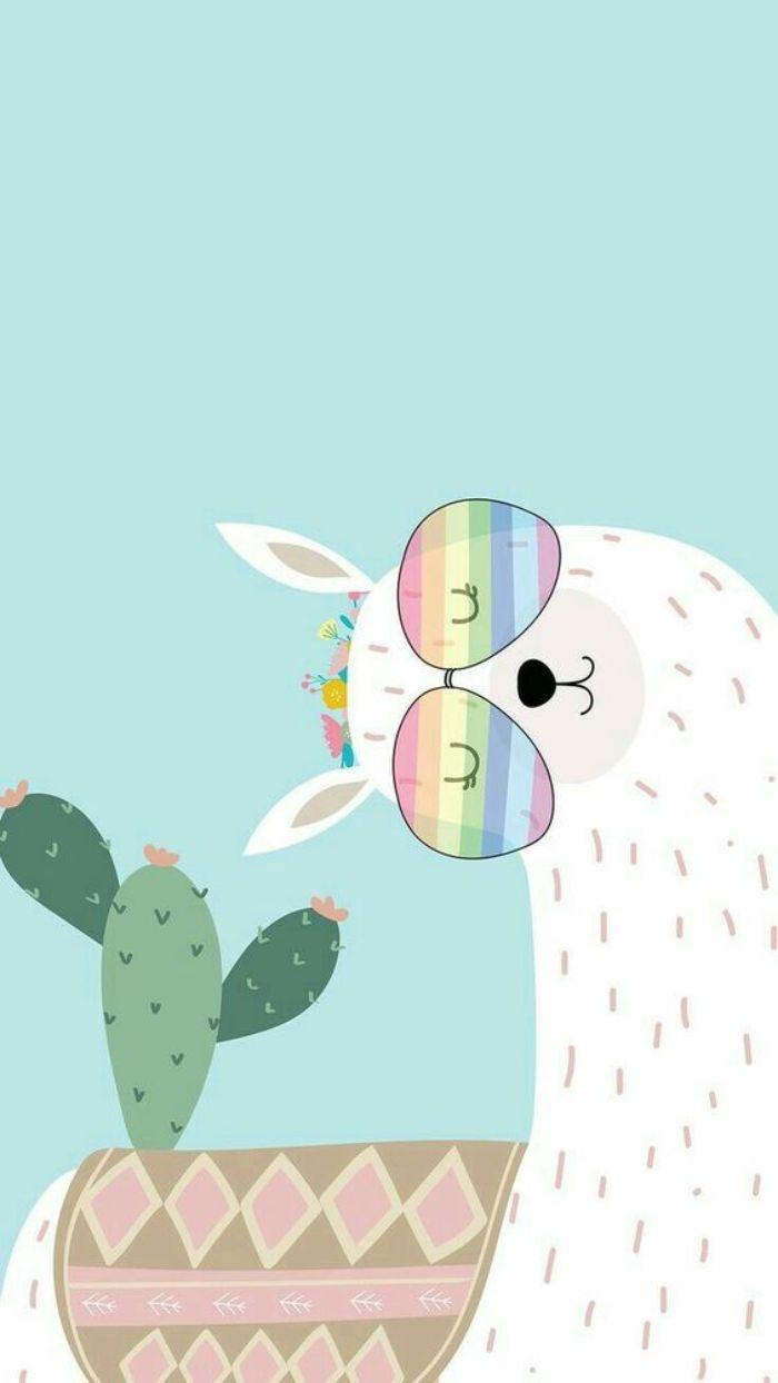 idee d alpga kawaoo de couleur blanche avec des lunettes arc en ciel et cactus sur fond bleu, image kawaii animal originale