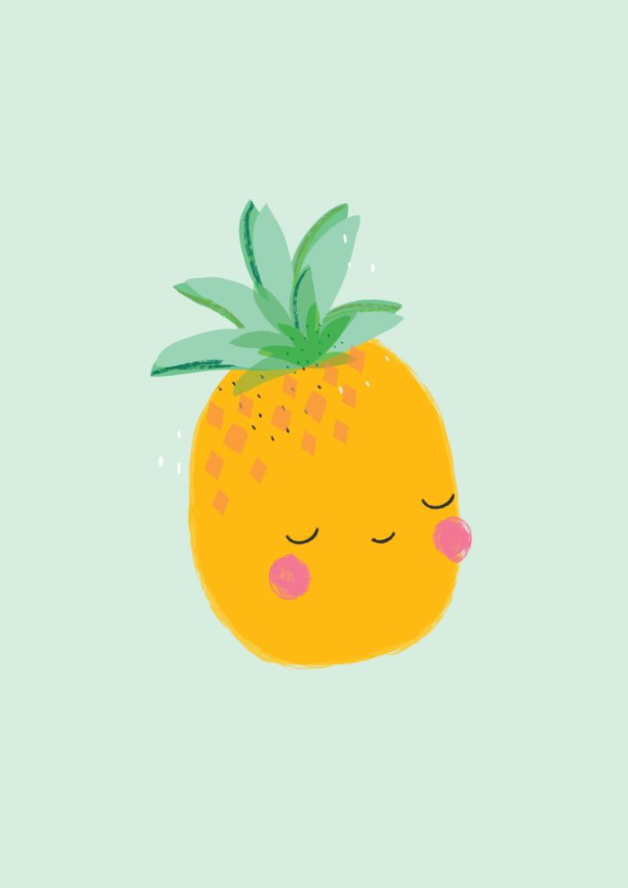 modele de fond écran été, dessin d ananas sur fond bleu, idee image theme tropical dessin simple nourriture kawaii
