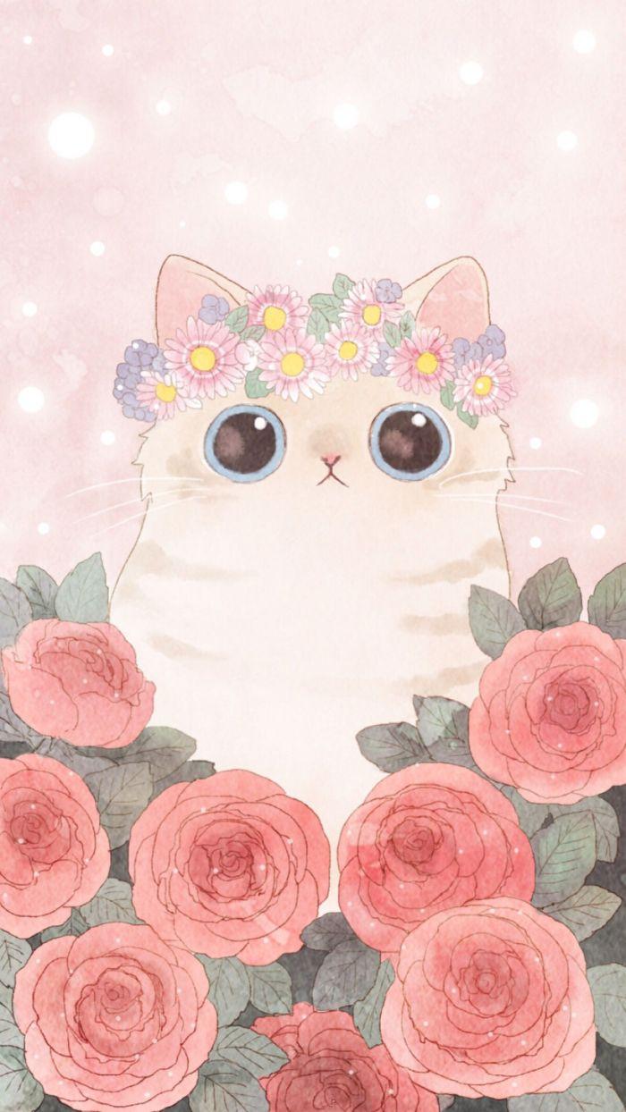 chat kawaii aux gros yeux avec couronne de fleurs et rosier dans les pattes, image pour fond ecran mignonne