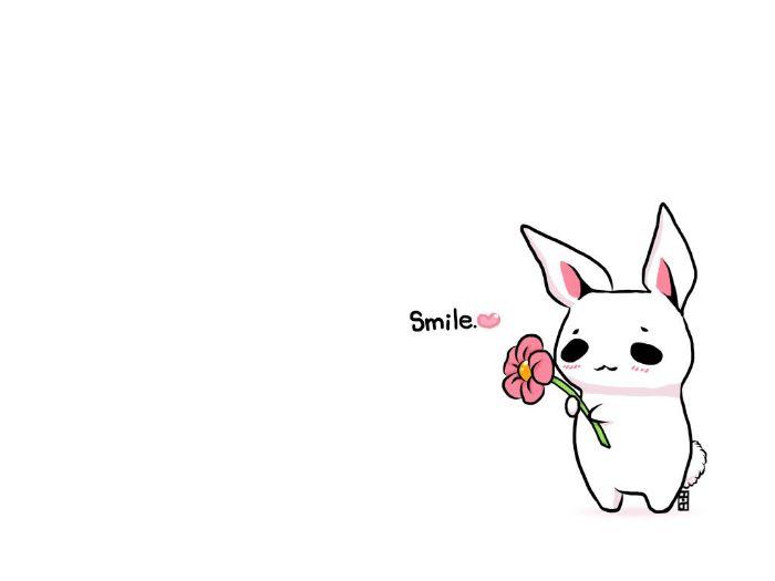 lapin mignon pour votre fond d écran mignon, petit lapin blanc avec fleur rose et le mot sourire à coté