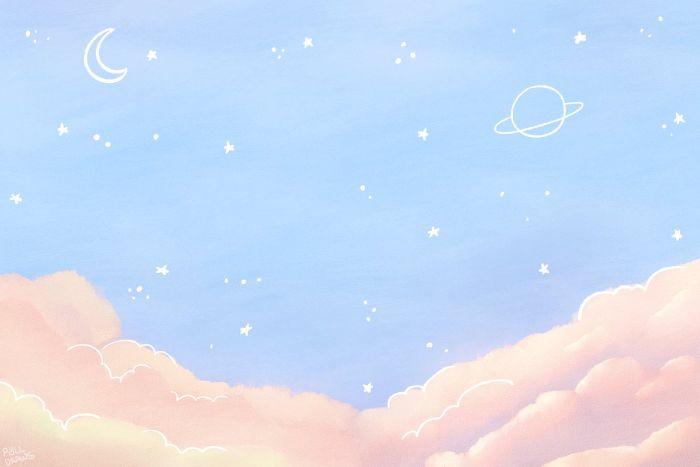 dessin paysage kawaii en couleurs pastel bleu et rose pastel, paysage ga;axy avec la lune et autres astres