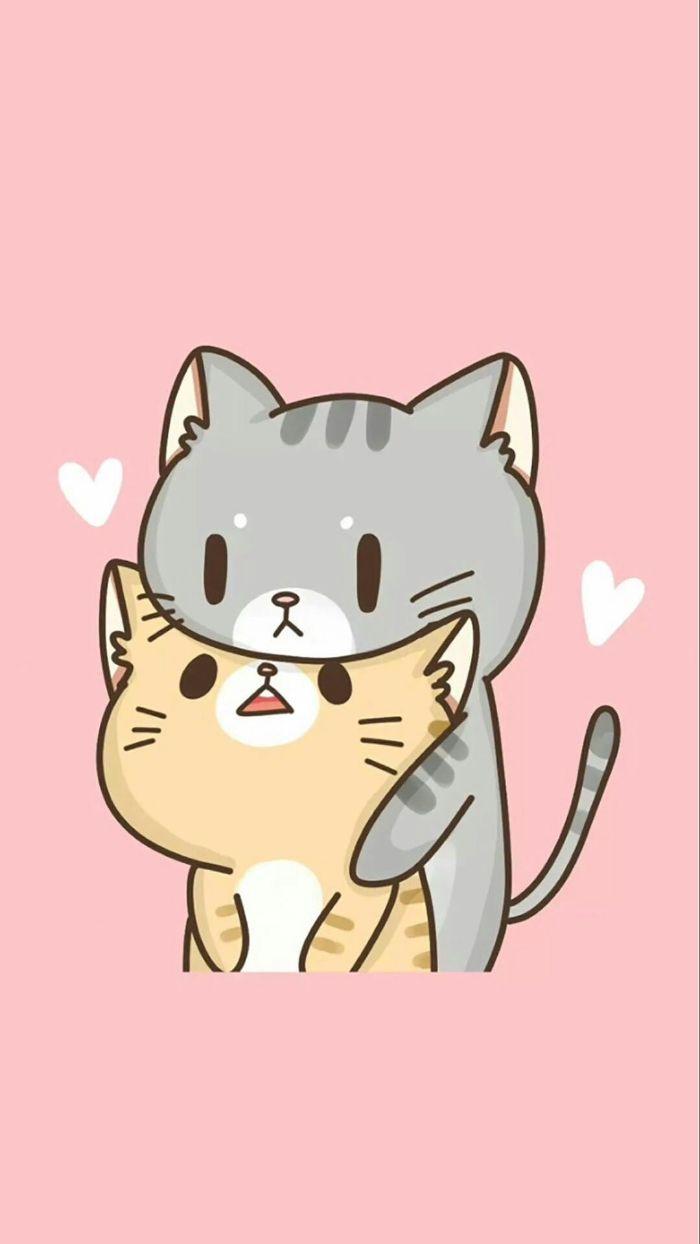 dessin kawaii pour fond ecran magnifique, deux chats dessin sur fond rose, idee image kawaii