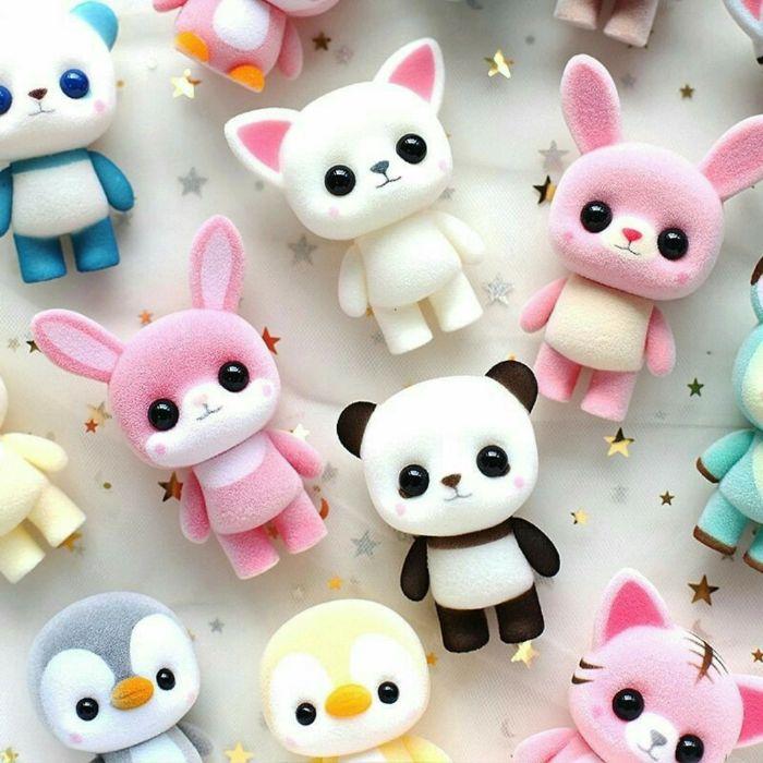 petits jouets kawaii motif panda, lapin et autres animaux kawaii pour un fond ecran enfant original