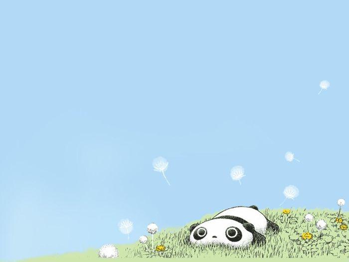 dessin de panda dans l herbe, animal kawaii facile a dessiner sur fond bleu, espace negaife pour fond d ecran
