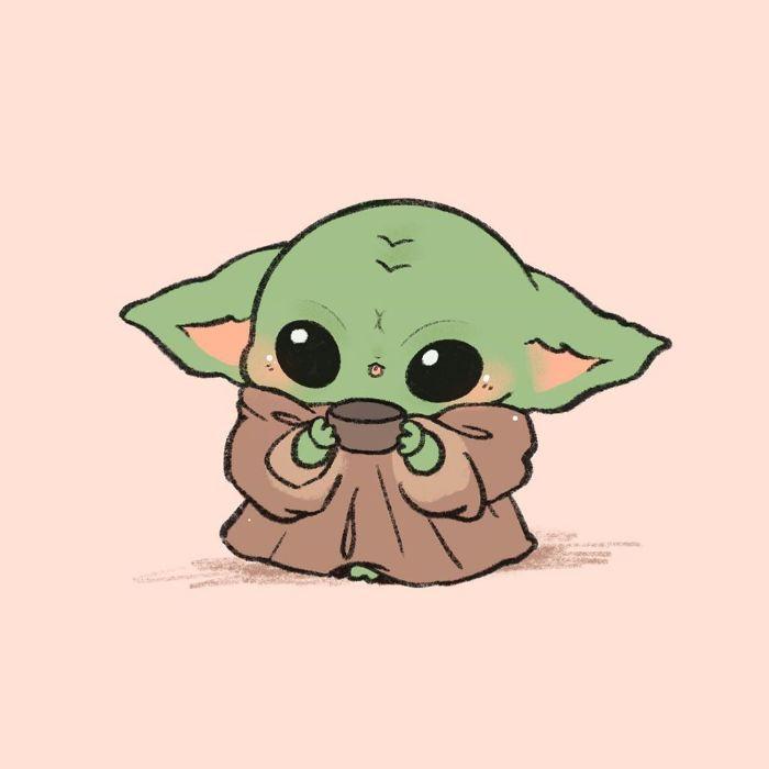 image mignonne de fond d écran kawaii, yoda bébé dans style manga original yr fond rose pale, idee fond ecran star wars
