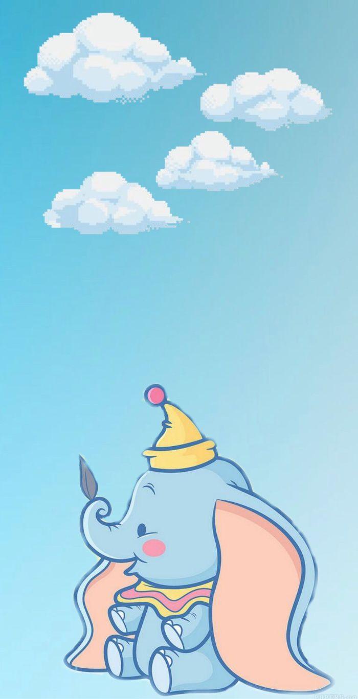 dessin d elephant mignon dumbo elephant aux longues oreilles et chapeau mignon sur fond bleu et nuages pixel art