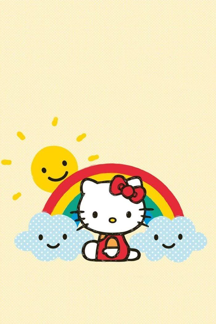 hello kitty fond d ecran mignon avec arc en ciel, nuages et le soleil sur fond saumon clair, idee de fond bureau enfant