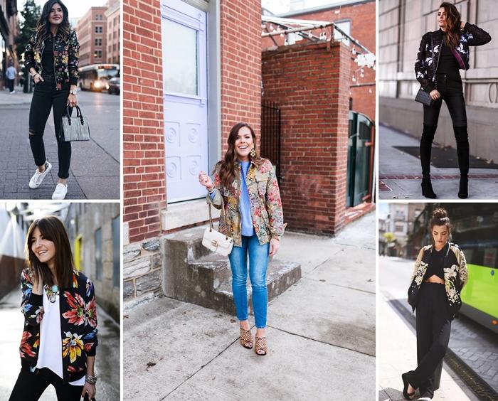 idées comment assortir la veste fleurie au printemps, look femme chic en pantalon noir déchiré avec veste noire aux motifs fleuris