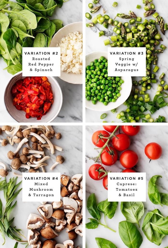 4 façons de faire une frittata maison aux oeufs, feta, petits pois, épinards, champignons, tomates cerises, recette facile pour le soir