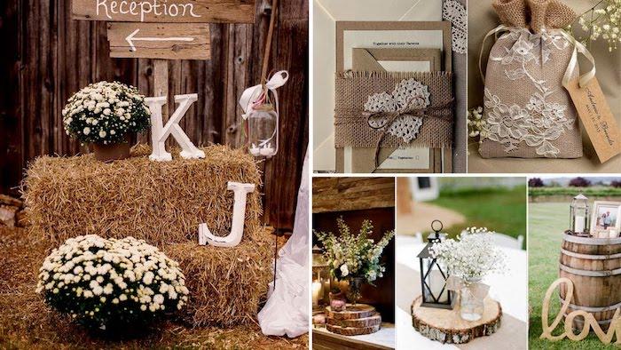Réception écriteau K et J style rustique, belle deco champetre pour mariage plein air pots avec fleurs de printemps