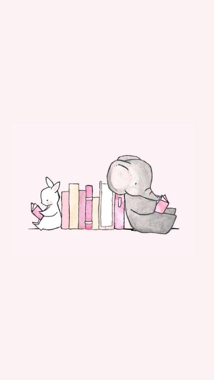 dessin facile à reproduire, exemple dessin kawaii simple d elephant et lapin mignon en train de lire, exemple fond ecran lecture