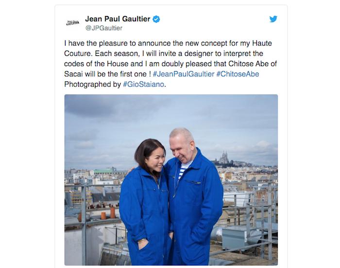 Chitose Abe prend les rennes de la maison Jean Paul Gaultier pour la prochaine saison