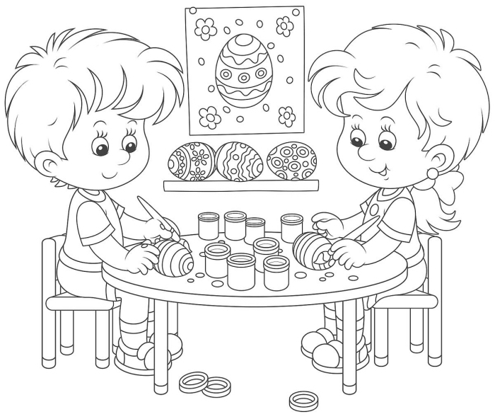 dessin de paques a imprimer, idée coloriage simple pour les enfants, illustration jeux de Pâques à colorier