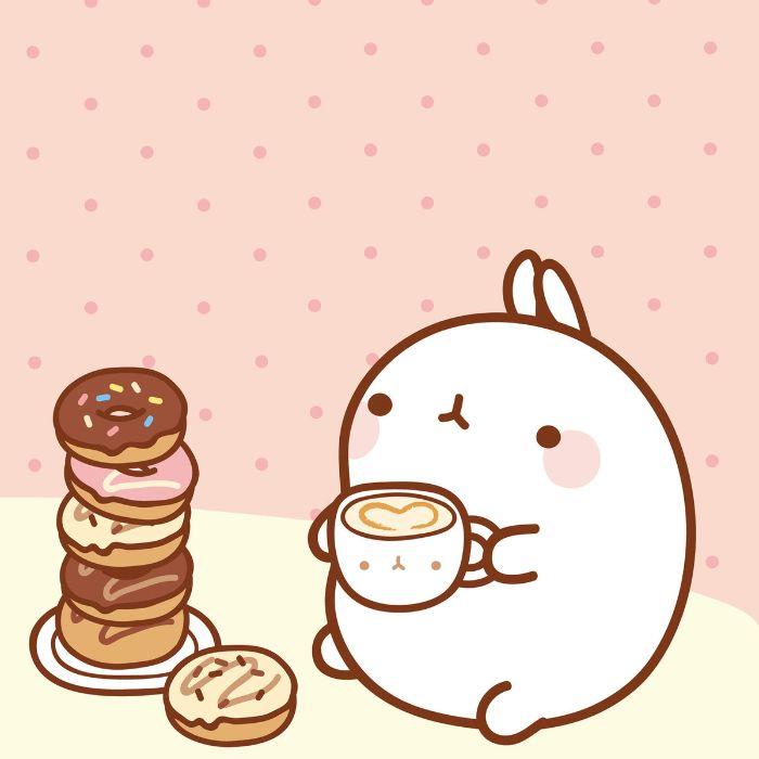 idee pile de donuts et personnage kawaii en train de boire du café sur fond blanc et rose, fond ecran pour fille