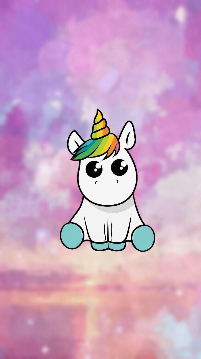 exemple de fond d'écran kawaii licorne avec fond arc en ciel et licorne dessin mignon blanc avec touffe de cheveux et corne arc en ciel