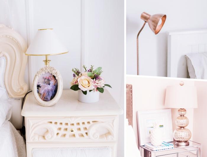 quelle lampe de chevet choisir selon le style de la pièce, modèle de lampe de chevet à design cuivre dans une chambre blanche
