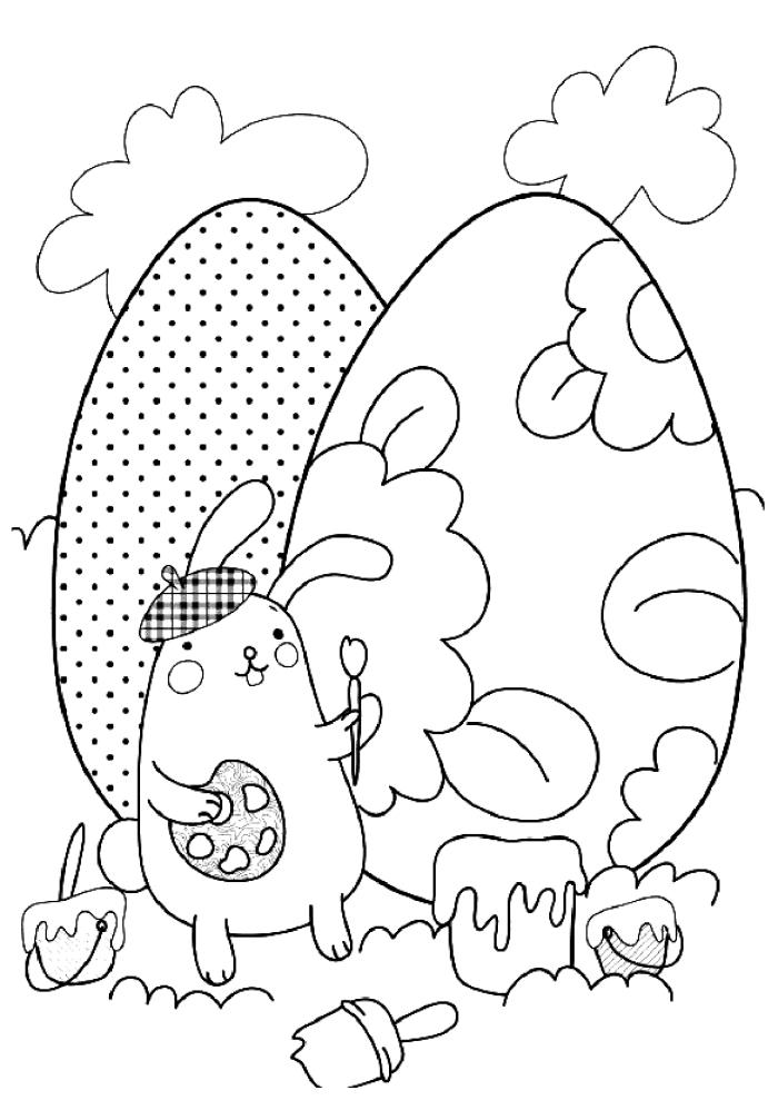 modèle de coloriage lapin facile pour enfants, idée dessin à imprimer et colorer à motifs oeufs de Pâques géants