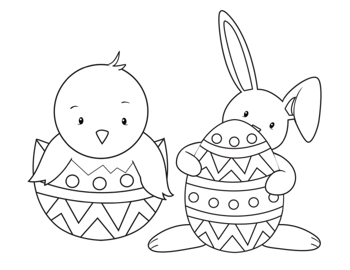 coloriage lapin de paques facile pour enfant, idée de dessin simple sur le thème de Pâque avec lapin et poulet